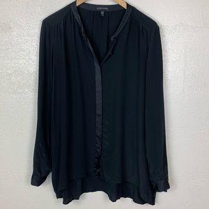 Eileen Fisher Mandarine Collar Silk Satin Button